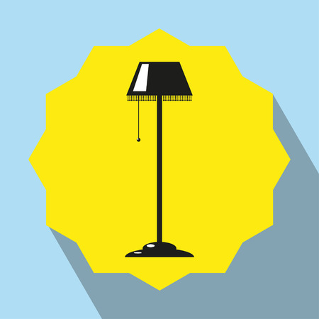 furnishings: Pieces of furniture. Floor lamp. Vector icon. Illustration