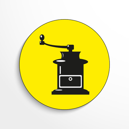 Manual coffee grinder. Vector icon. Illustration