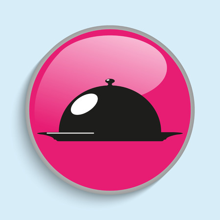 Cooked food on the plate under the hood. Vector icon. Illustration