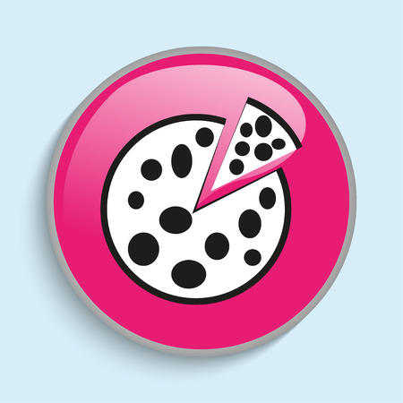 cut off: Fresh pizza with a piece cut off. Vector icon.