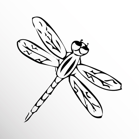 ornithologist: Dragonfly. Drawing. Sketch style.