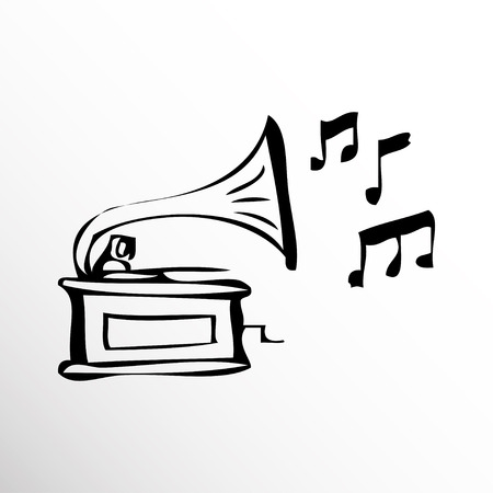 sketch: Gramophone. Drawing. Sketch style. Illustration