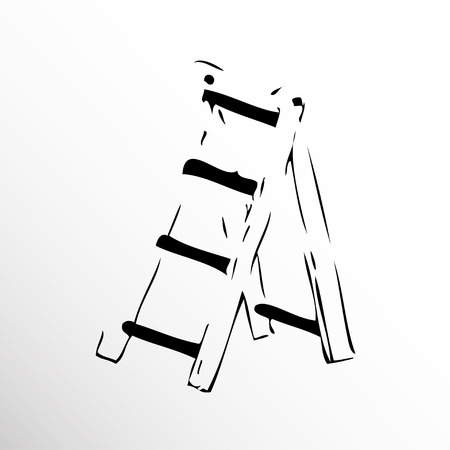 Folding stairs. Drawing. Sketch style.
