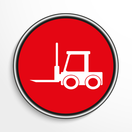 work crate: The loader. White vector icon on a red background.