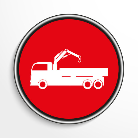 consignment: Truck with crane. White vector icon on round red background.
