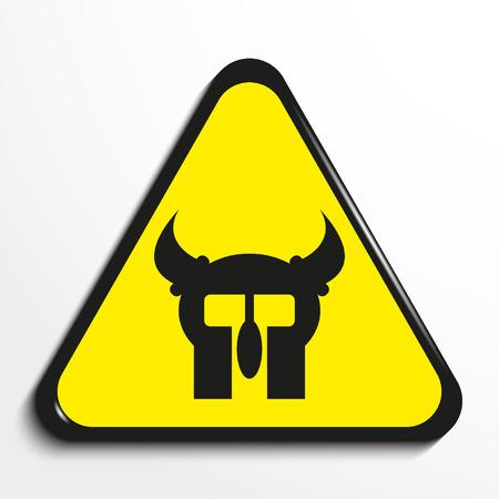 Triangle with a symbol battle helmet. Vector illustration. Illustration