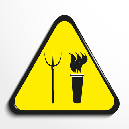 enraged: Triangle with a symbol torch and pitchforks. Vector illustration.