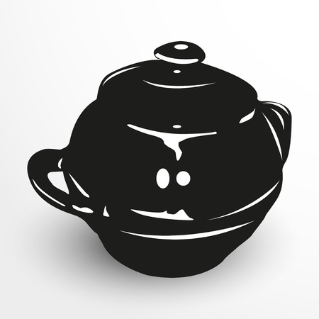 earthenware: Pot for baking. Vector illustration. Black and white view. Illustration