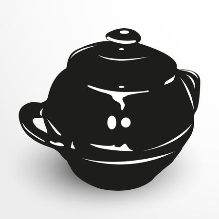 crock: Pot for baking. Vector illustration. Black and white view. Illustration