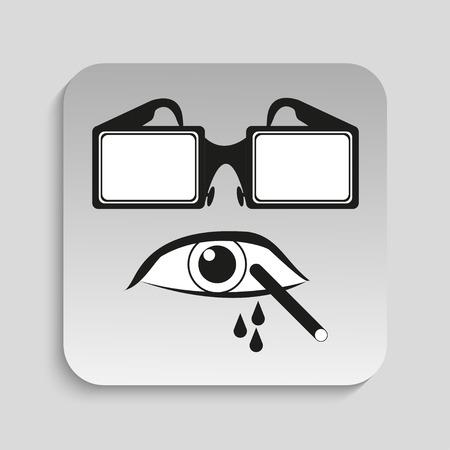 Danger sign. Eye protection. Vector icon.