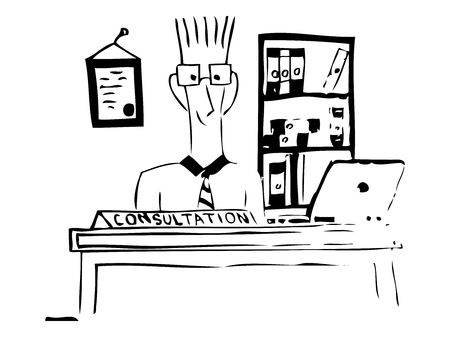affable: Client consulting. Drawing. Sketch style. Vector illustration.