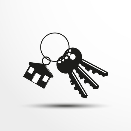 Keys with a decorative trinket. Vector illustration.