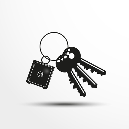 knickknack: Keys with a decorative trinket. Vector illustration.