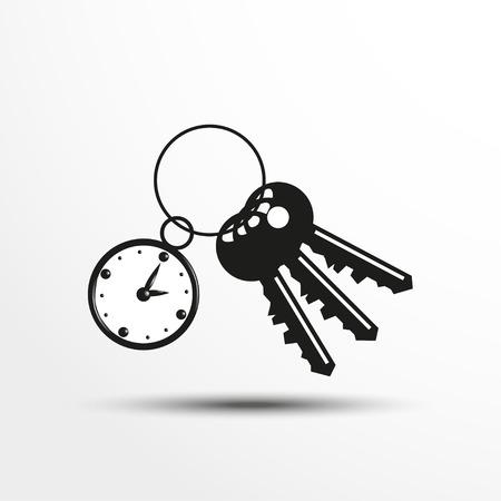 trinket: Keys with a decorative trinket. Vector illustration.