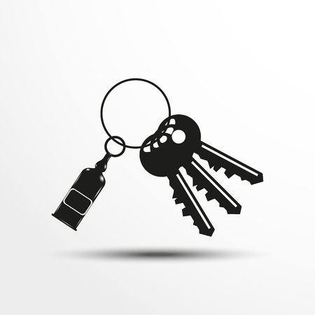 latchkey: Keys with a decorative trinket. Vector illustration.