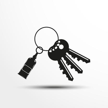 Keys with a decorative trinket. Vector illustration.