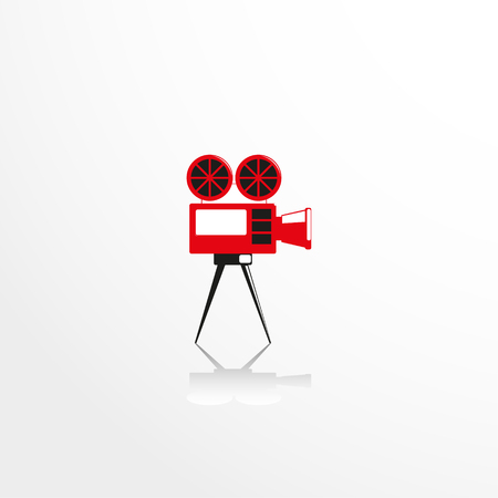 old movie: Old movie camera. Vector icon. Illustration