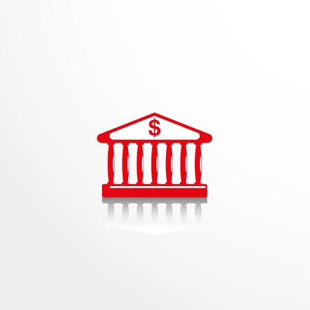 roman pillar: Bank building. Vector icon.