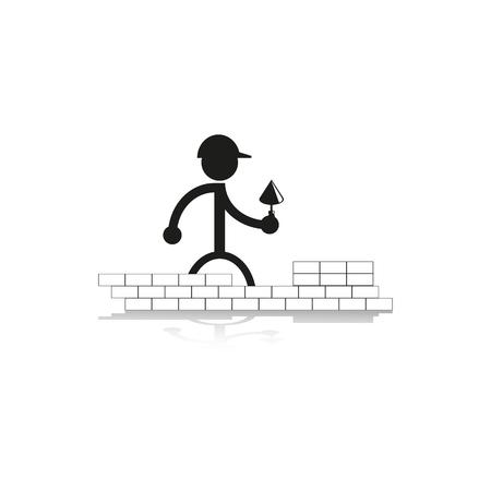 laying: Work on laying bricks. Vector icon. Illustration