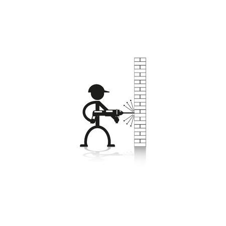 axial: A man drills wall rock drill. Vector icon. Illustration