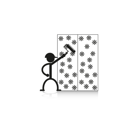 wallpapering: Wallpapering on the wall. Vector icon.