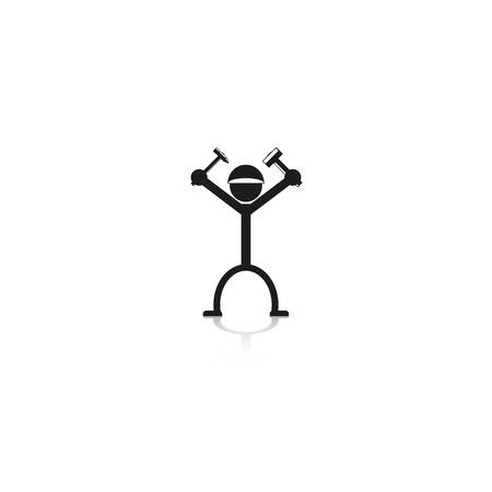 belt up: Builder. Vector icon.