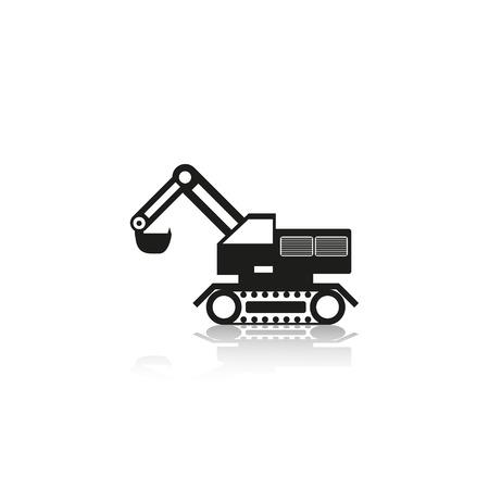machinery: Construction machinery. Excavator. Vector icon.