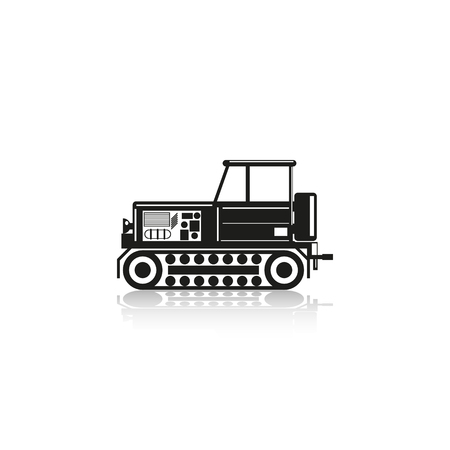 machinery: Construction machinery. Tractor. Vector icon.