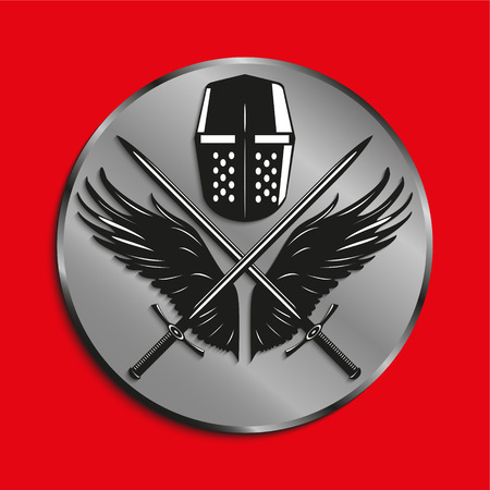 crossed swords: Image of medals with wings of a bird, the two crossed swords and battle helmet. Vector illustration. Illustration