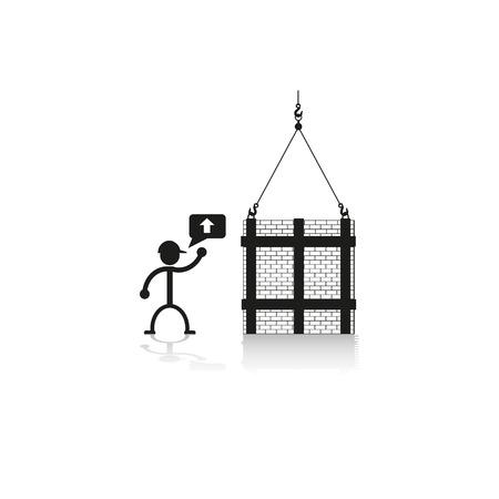 stacked stones: Loading crane stacked bricks. Vector illustration.