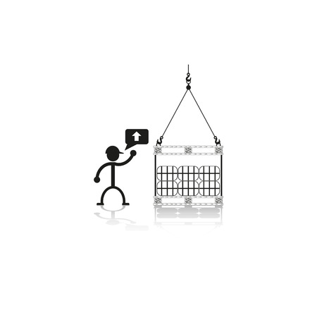 bale: Loading crane packaging materials on the pallet. Vector illustration.