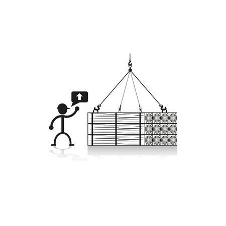Loading crane building wooden beams. Vector illustration.