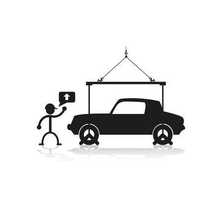 parking disk: Loading crane car. Vector illustration.