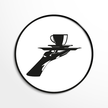 blends: A glass of hot tea on a tray. Vector illustration. Black and white view. Illustration