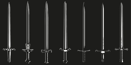 longsword: Set of vector icons on the theme of old swords.