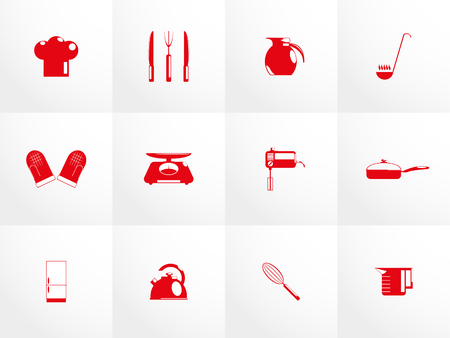 garlic bread: Set of vector icons on the theme of cooking utensils.
