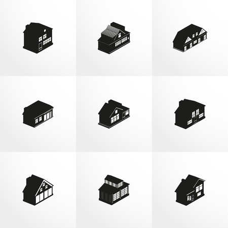 housetop: Set of vector icons on the theme of the house.