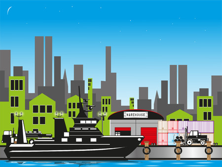 Cargo port in the city. Vector illustration.