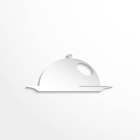 food plate: Cooked food on the plate under the hood. Vector icon. Illustration