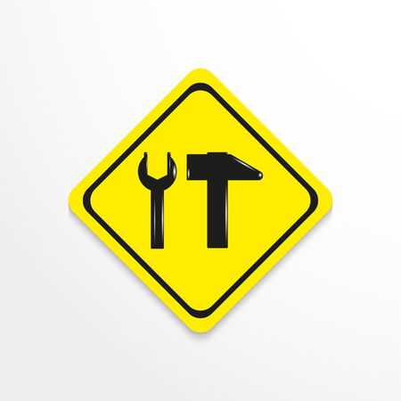 A hammer and a wrench. Sign of the repair shop. Vector icon.
