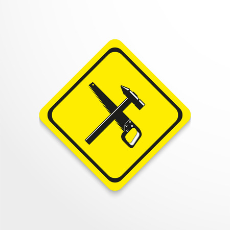 A hammer and a hacksaw icon. Illustration