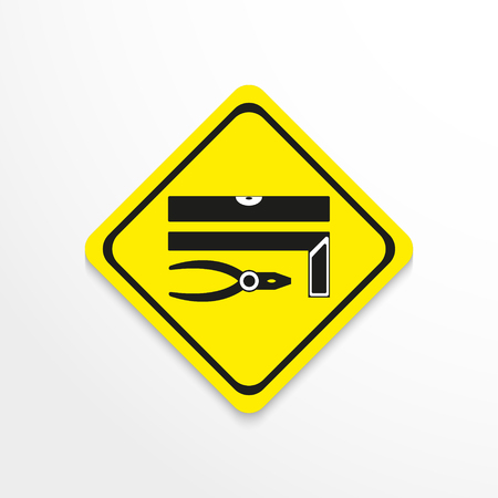 hand tool: Hand tool. Level square and pliers icon. Illustration