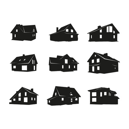 homes: Set of vector icons on the theme of private homes. Illustration