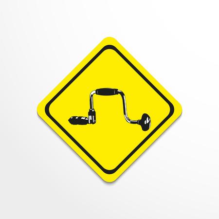 drilled: Hand drill. Vector illustration.