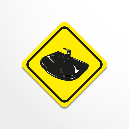 Sink with mixer. Vector illustration.