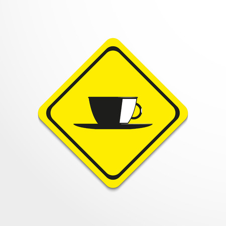 hot couple: A cup and saucer. Vector icon.
