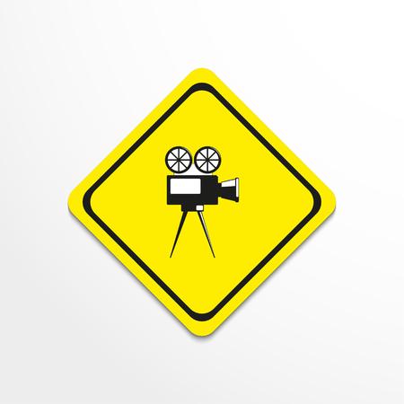 Old movie camera. Vector icon. Illustration