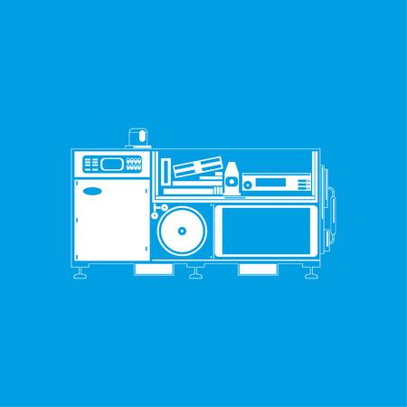 lathe: Industrial equipment. Machine. Vector icon.