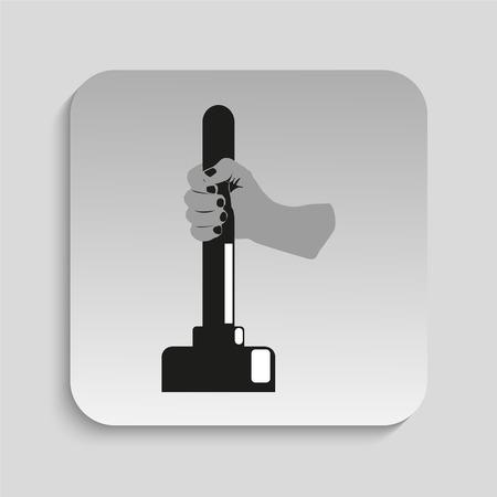 plunger: Plunger in hand. Vector illustration.