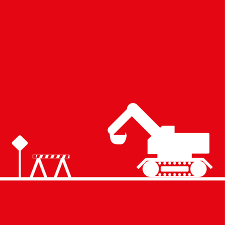 Excavator in the workplace. Vector illustration. Red and white view